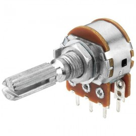 100KBx2 LIN Double Potentiometer CENTER CLICK (16 mm dia 4A1 Type)