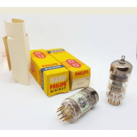 6201 - E81CC - 12AT7WC SQ Gold Pin Pinched Waist PHILIPS Miniwatt NOS-NIB Pair (v50 - v52)